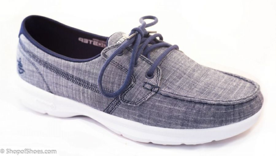 Sketchers GOWalk 3 navy & white available to try and buy from our shop on the Hampshire Berkshire border near Newbury, Winchester Andover and Basingstoke.